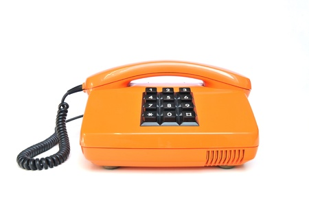 Retro telephone orange on white background Stock Photo - 13006027