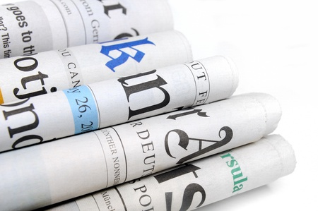 journals: Various newspapers over white background