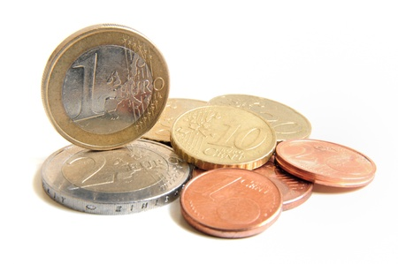 Euro money coins on white background  photo