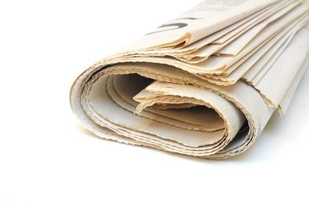 Folded newspaper on white background  Stock Photo