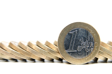 pile of coins: 1 Euro money coins on white background