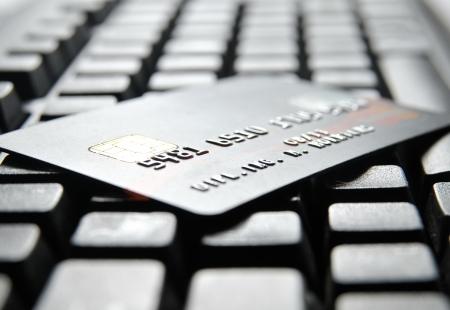 Credit card on a  computer keypad