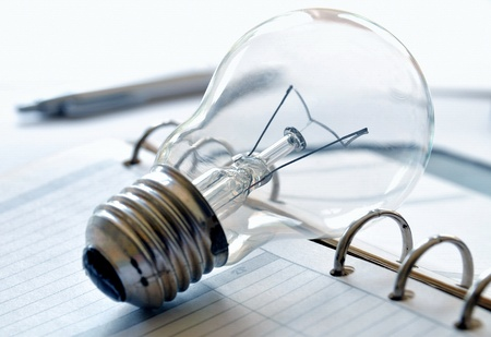 Light bulb on a organizer photo