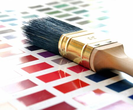 Paintbrush on a color swatch photo