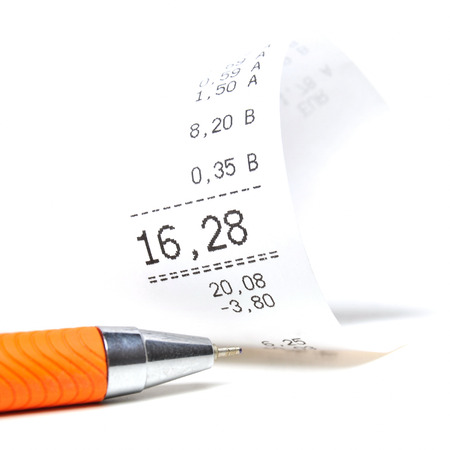 find similar images:    Find Similar Images Receipt with orange colored ball pen  Stock Photo