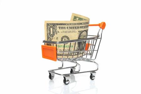 Einkaufswagen mit Dollar-Note