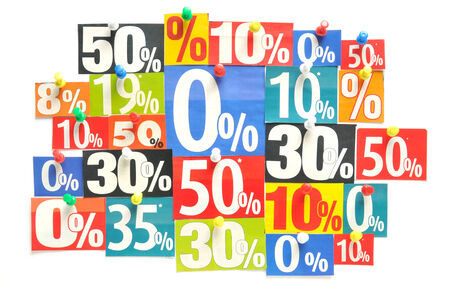 percentages: Discount - Various colored newspaper percent snippets  Stock Photo