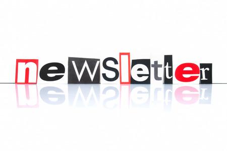 Nieuwsbrief met krant letters