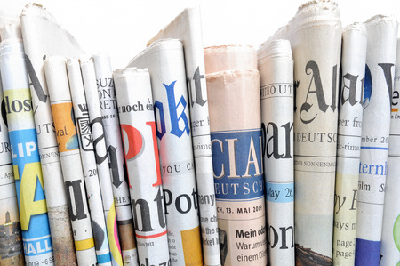 Row of newspapers Stock Photo