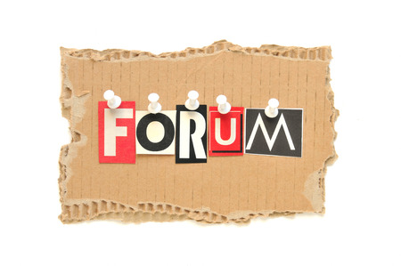 Forum - Newspaper letters on a cardboard Stock Photo - 27875235