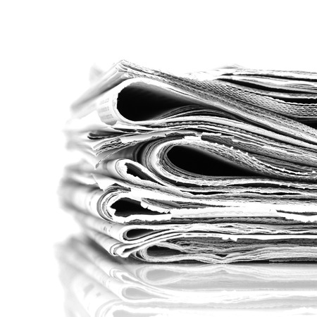 Stack newspapers - black and white image photo