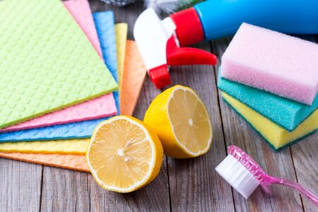 bicarbonate: Eco-friendly natural cleaners on wooden table Stock Photo