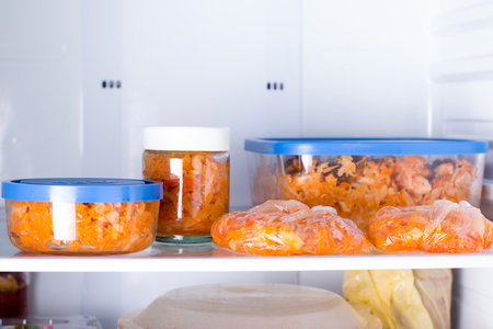 Meals in containers in the refrigerator Foto de archivo