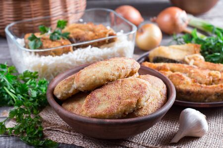 Homemade cutlets on a wooden table in a rustic style