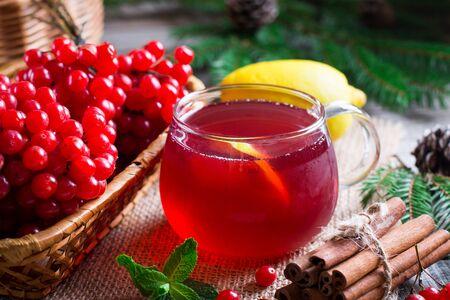 Healing Tea viburnum. Bunch of Viburnum on a table Stock Photo