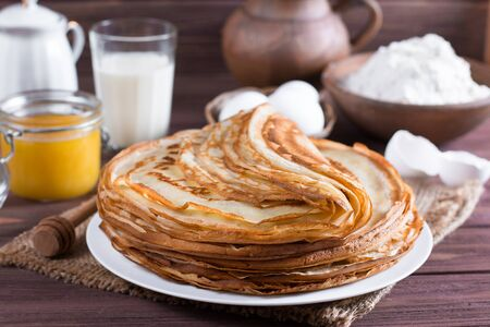 Pancakes. Thin pancakes for breakfast. Russian bliny.