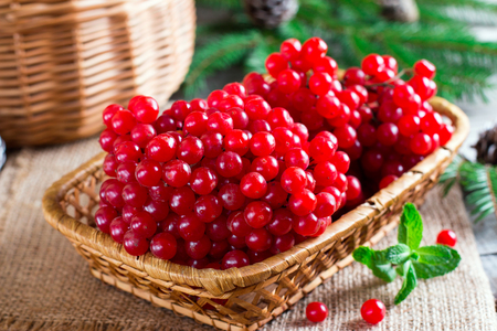 Ripe red viburnum berries in a wooden bowl on wooden table Stock Photo