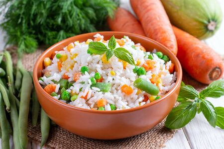 Frozen mixed vegetables with rice. Vegetables mix Banco de Imagens