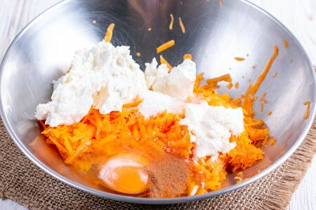 Pumpkin dough for making pancakes. Culinary process