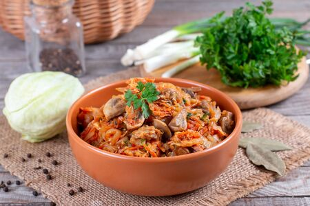 Stewed cabbage with mushrooms and tomato sauce Foto de archivo - 137601853