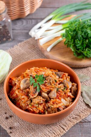 Stewed cabbage with mushrooms and tomato sauce Foto de archivo - 137601855