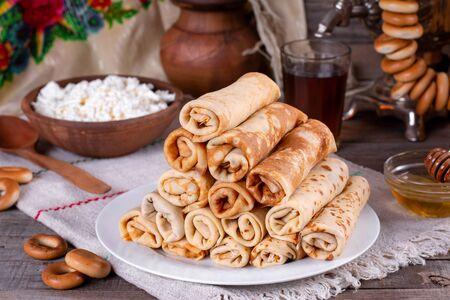 Pancakes. Thin pancakes. Russian bliny. Maslenitsa