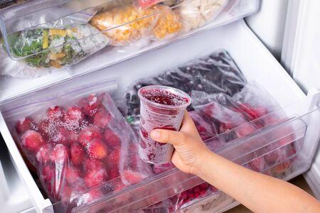 Frozen baby puree in the freezer. Frozen food