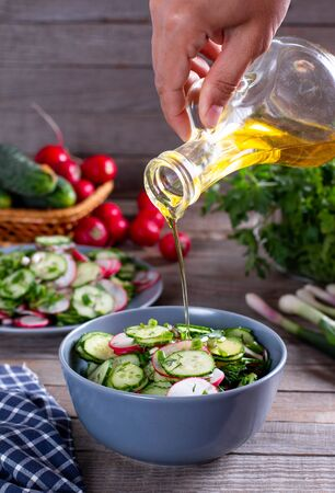 Salad with radish, cucumber, leek and chive. Concept for a tasty and healthy salad.