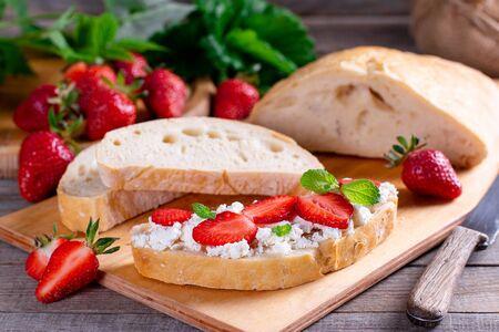 Bruschetta strawberry white bread toast cream-cheese, ciabatta. Bruschetta with strawberries
