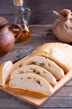 Crusty Homemade Ciabatta Bread Ready to Eat. Fresh italian ciabatta bread