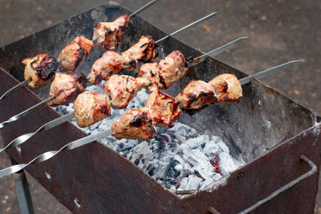 Grilled kebab cooking on metal skewer. Roasted meat cooked at barbecue. BBQ fresh meat chop slices. Traditional eastern dish, shish kebab. Grill on charcoal and flame, picnic