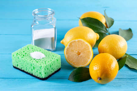 Cleaners from natural eco-friendly products: lemon and baking soda. Organic cleaners.