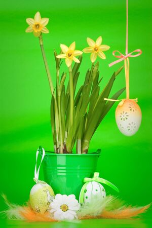 Yellow narcissus in green bucket with decorated eggs, flowers and colored feathers on green background photo