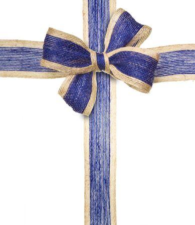 Blue ribbon on white background. photo
