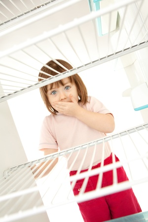 Cute young preschool girl with hand over mouth looking in empty refrigerator photo