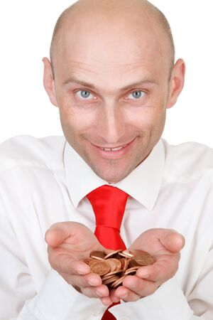 Portrait of smiling young businessman with pile of money in hands, isolated on white background. Stock Photo - 9575514