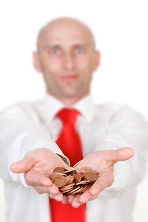Half body portrait of businessman with pile of coins in cupped hands, focus on foreground. Stock Photo - 9575136
