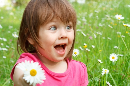 Outdoor portrait of a little Caucasian girl with happy facial expression in a field of flowers. Stock Photo