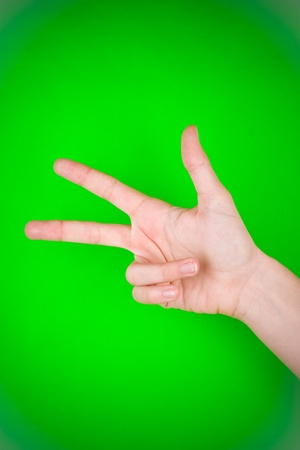 Human hand as if counting the number three. Stock Photo - 9575502