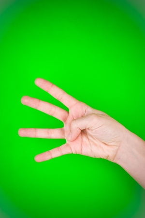 Left hand as if counting the number four. Stock Photo - 9570899
