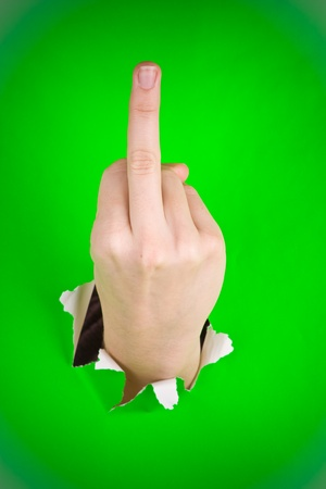 rudely: A hand bursting through a green background and giving the finger gesture, usually considered obscene.