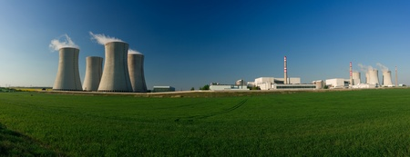 nuclear energy: Panorama of buildings at a nuclear power station.   Stock Photo