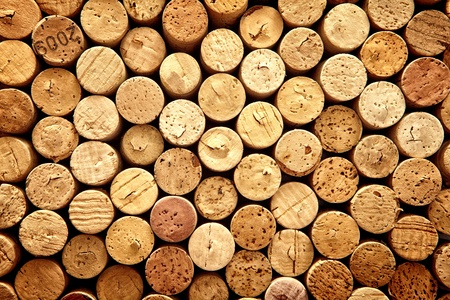 Background pattern of wine bottles corks Stock Photo
