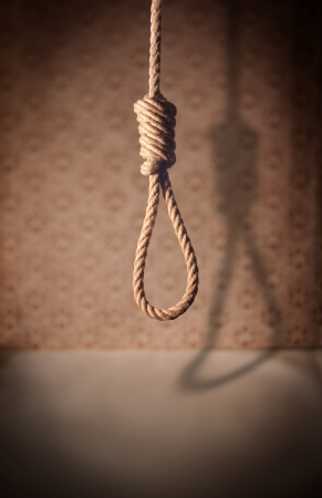 gallows: A noose hanging in a dark room.