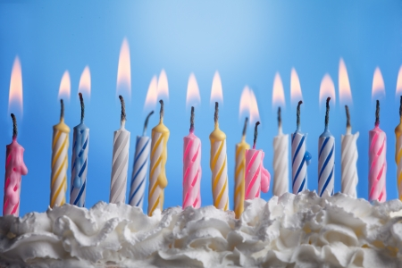 lit candle: Many candels in birthday cake