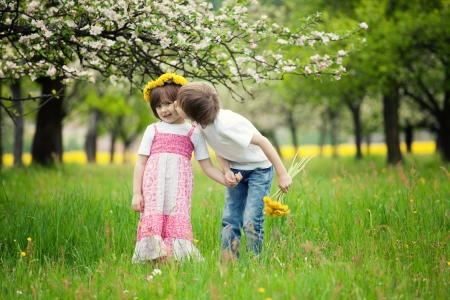 kiddies: Two young children kissing in flowery meadow of long grass, girl wearing daisy flower crown.