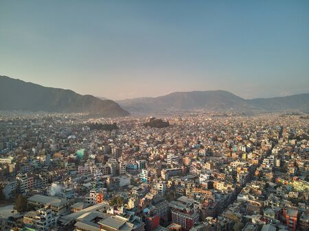 Aerial view of Thamel, a commercial neighborhood in Kathmandu, the capital of Nepal. It has been the centre of the tourist industry for decades. Low-budget travellers consider it a hotspot for tourism