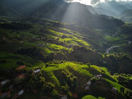 Beautiful step of rice terrace paddle field in sunset and dawn at Trung Khanh, Cao Bang. Cao Bang is beautiful in nature place in Vietnam, Southeast Asia. Travel concept. Near Mu Cang Chai and sapa.