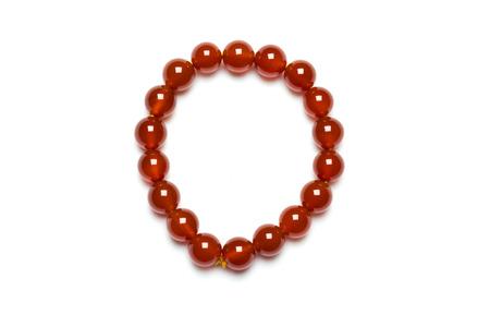 Carnelian bracelet on white backgroud Stock Photo - 28020779