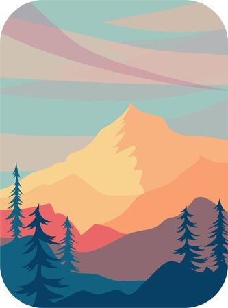vector illustration of sunset in mountains